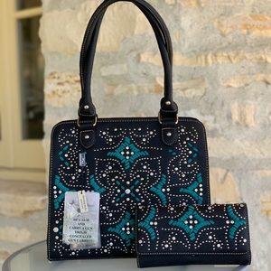 Montana west embroidery conceal handbag&wallet